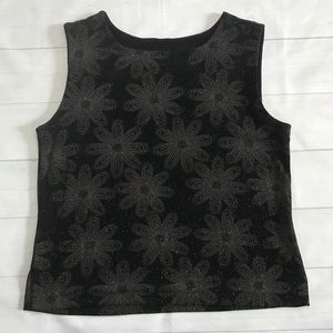 Chico's Black Sleeveless Top with Brown Flowers XL